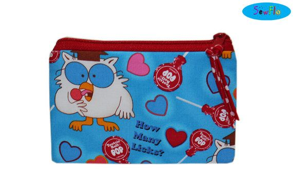 NEW Tootsie Roll Pop Bag  Zippered Pouch  Owl  How Many by SewFlo