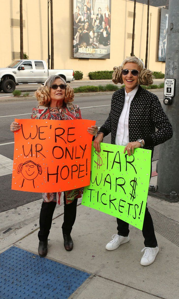 Pin for Later: Carrie Fisher and Ellen DeGeneres Hilariously Sell Star Wars Tickets on the Street