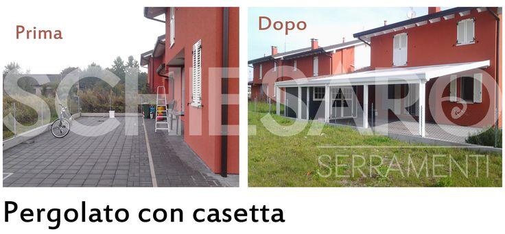 Situazione prima e dopo installazione pergolato + casetta.