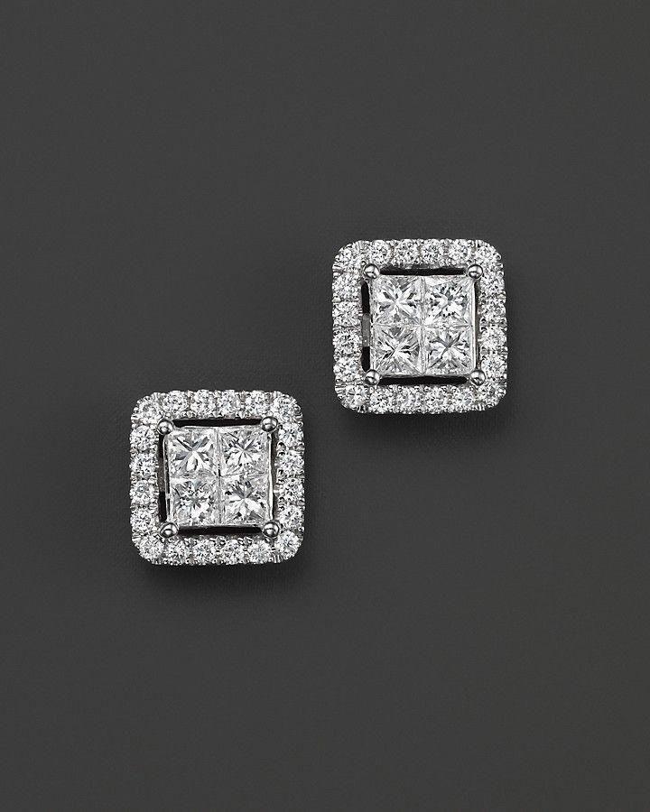 Princess Halo Stud Earrings Diamond Solitaire Earrings Halo
