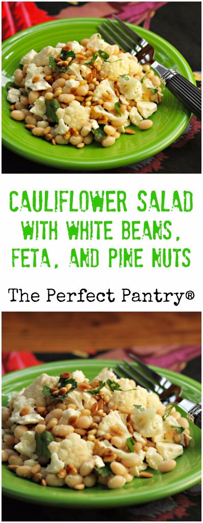 Cauliflower salad with white beans, feta cheese and pine nuts: a cauliflower…
