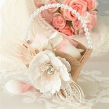 Show details for Burlap & Lace Flower Basket