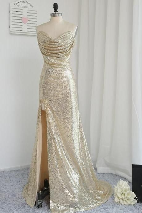 Fitted Gold Sequin Strapless Slit Prom Dress 8c801b67b500