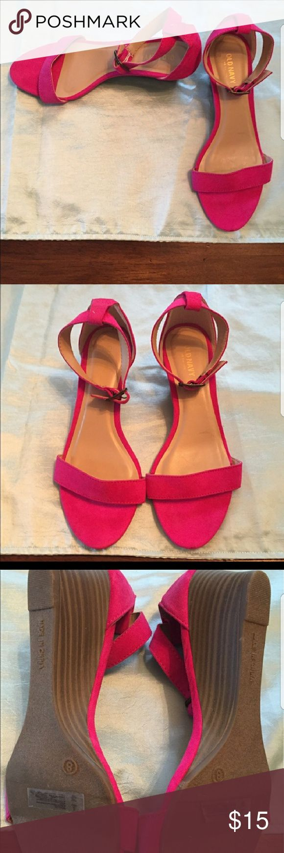 NWOT Hot pink wedge sandal. NWOT hotpink wedge sandal from Old Navy. Love these but they are a little too loose on my feet. Such a cute color for spring and summer! Super comfy height! Old Navy Shoes