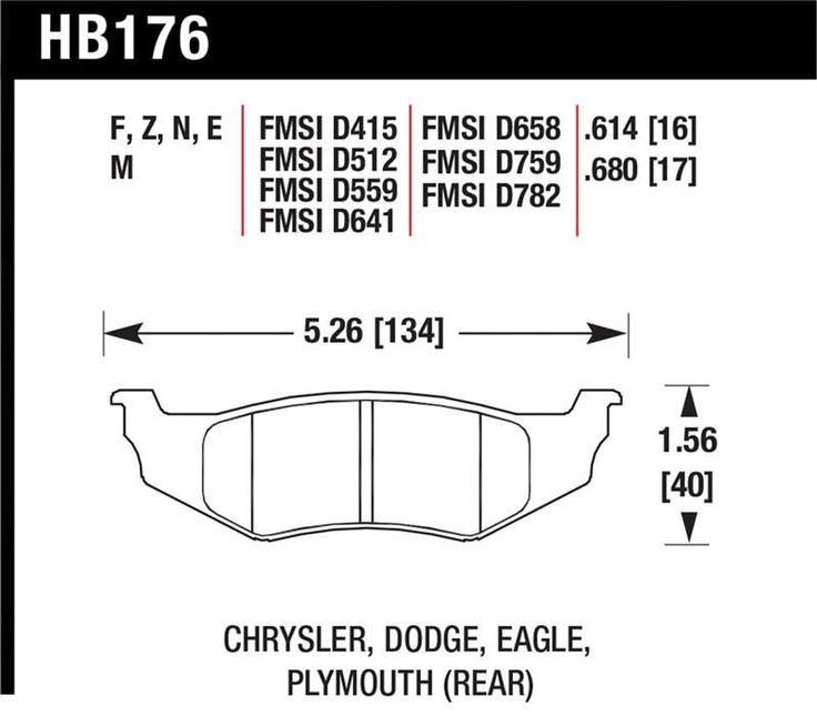 Hawk 95-06 Dodge Stratus/ 01-10 PT Cruiser/ 96-05 Sebring/ 95-05 Neon/ 93-02 Intrepid/ 99-04 300M/ 93-04 Concorde HPS Street Rear Brake Pads