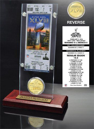 NFL Seattle Seahawks Super Bowl 48 Champions Ticket  Bronze Coin Desktop Acrylic * Check this awesome product by going to the link at the image. (Note:Amazon affiliate link)