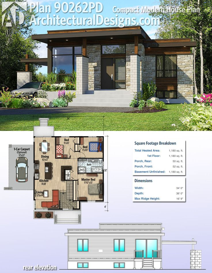 Architectural Designs Compact Modern House Plan 90262PD gives you 2 beds and over 1,100 square feet of heated living space. And it comes with an optional 1-car carport. Ready when you are. Where do YOU want to build? – L
