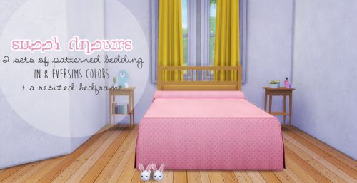 helloooooo there. today i'm sharing two sets of patterned recolors of the awesims midcentury bedspread converted by lina-cherie - + the ikea hemnes double bedframe converted by veranka, resized to fit...
