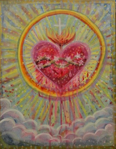 "SWEET HEART.  ""8 x ""11 inch art print. colourful, rainbow spiritual fire sky clouds love heaven icon. free shipping sacred heart Christian  painting, heart, sacred heart"