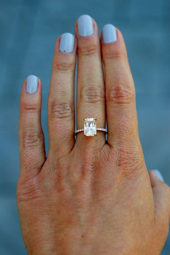 Champagne Engagement Ring 14k Rose Gold Diamond Engagement