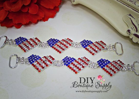 Patriotic 4th of July colors! Gorgeous rhinestone crystal bikini connectors with super bright Red blue and clear crystals. These make great baby headband components. Great for scrapbooking too. They have a flatback. See all of our holiday supplies here: