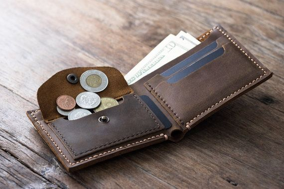 Coin Wallet, PERSONALIZED, Leather Men's Coin Pocket Wallet, Coin Purse, Coin Holder, Fits All Currencies - [Listing# 003]