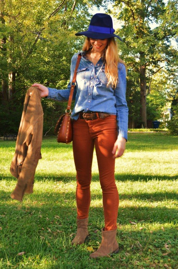 1000+ images about Rust pants outfits on Pinterest | Color pants Black stripes and Colored pants