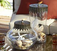 Display Oil Lamp #DIY Pick up old oil lamps from thrift stores. Fill with shells and decor. Place on tables, dressers, etc!