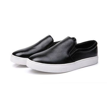 New Men Leather Breathable Casual Flat Loafers Large Size Walking Sport Shoes - US$36.15