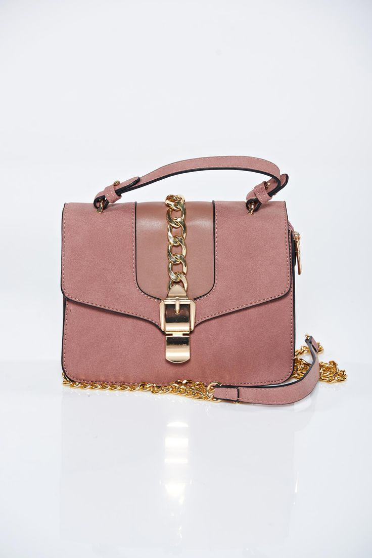 Pink casual bag a compartment with internal pockets, women`s bag, detachable chain, metalic accessory, upper material: ecological leather, a compartment with internal pockets