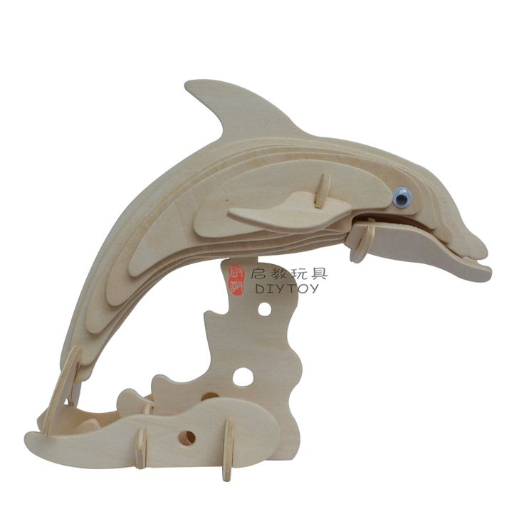 Dolphin----DIY 3D Jigsaw Woodcraft Animal Kits Realistic Wooden Model Toy