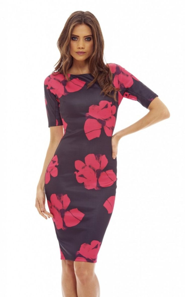 Black 3/4 Printed Bodycon Dress With Sleeve De... - SilkFred