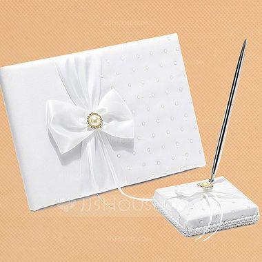 White Bow Sequin/Sash Guestbook & Pen Set (101018184) - JJsHouse