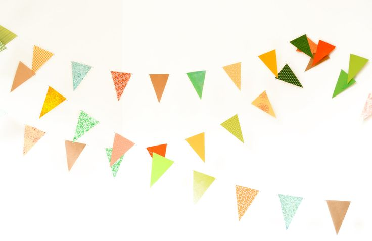 #handmade #flag #garland #triangles in #orange #gold #green #yellow colors #verapaperlab #etsy - pinned by pin4etsy.com