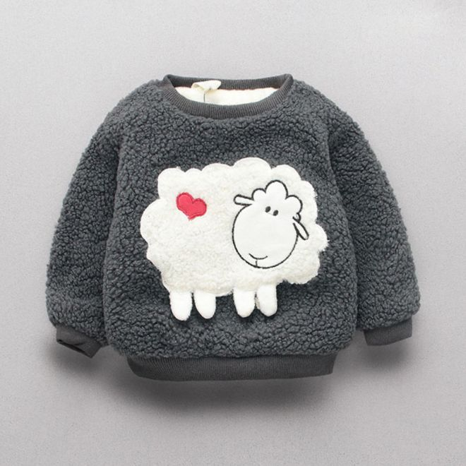 FREE SHIPPING on orders over $35.00!!!Sweet Sheep Applique Long-sleeve Faux Fur Pullover for Baby