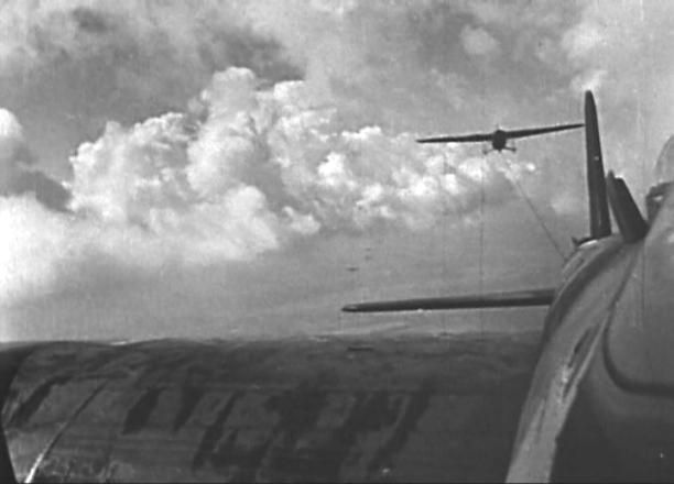 A Horsa glider in the tow, as seen from a Stirling tow aeroplane