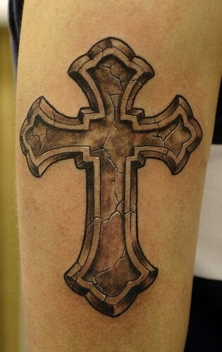 Cracked cross tattoo