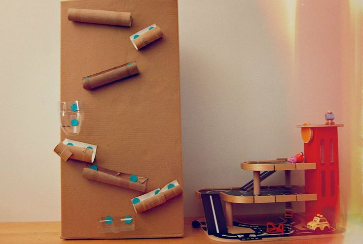 Cardboard marble run, but this time using a make do kit, great idea