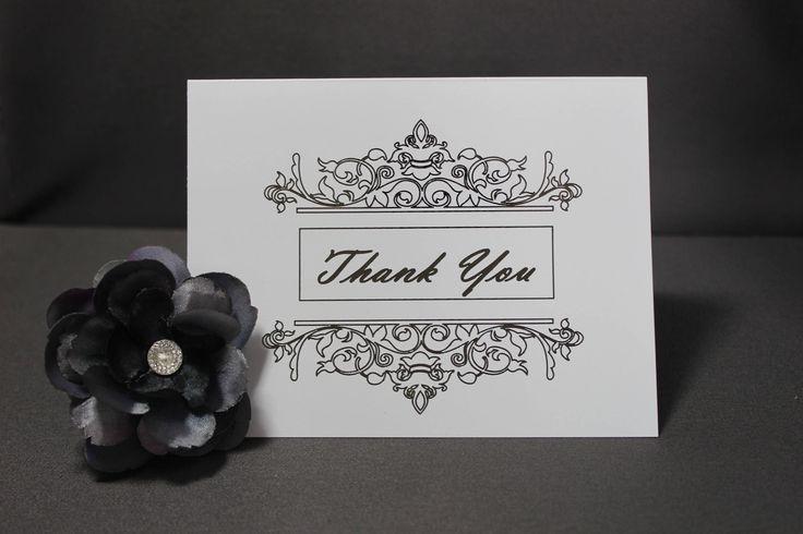 White Thank You Cards with Silver Flourish by DazzlingCreationsCA on Etsy