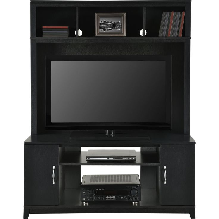 Features:  -Exterior Shelving Included.  -Cabinets store DVDs, video games and gaming accessories.  -Lower shelves hold AV components and gaming consoles.  -Upper storage shelves on hutch.  -Accommoda