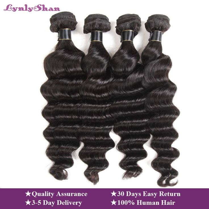 Lynlyshan Loose Deep Wave Bundles Peruvian Hair Bundles Human Hair Extensions 1/3/4 Bundles Deals Remy Hair Weave Bundles Weft