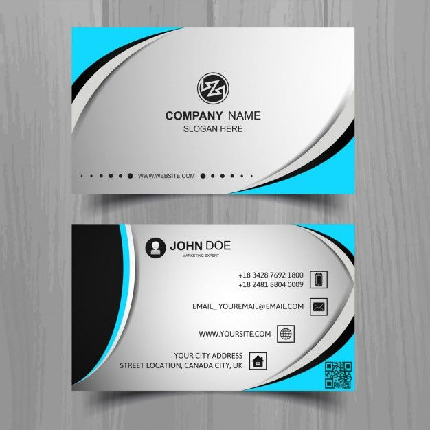Grey business card with blue elements Free Vector