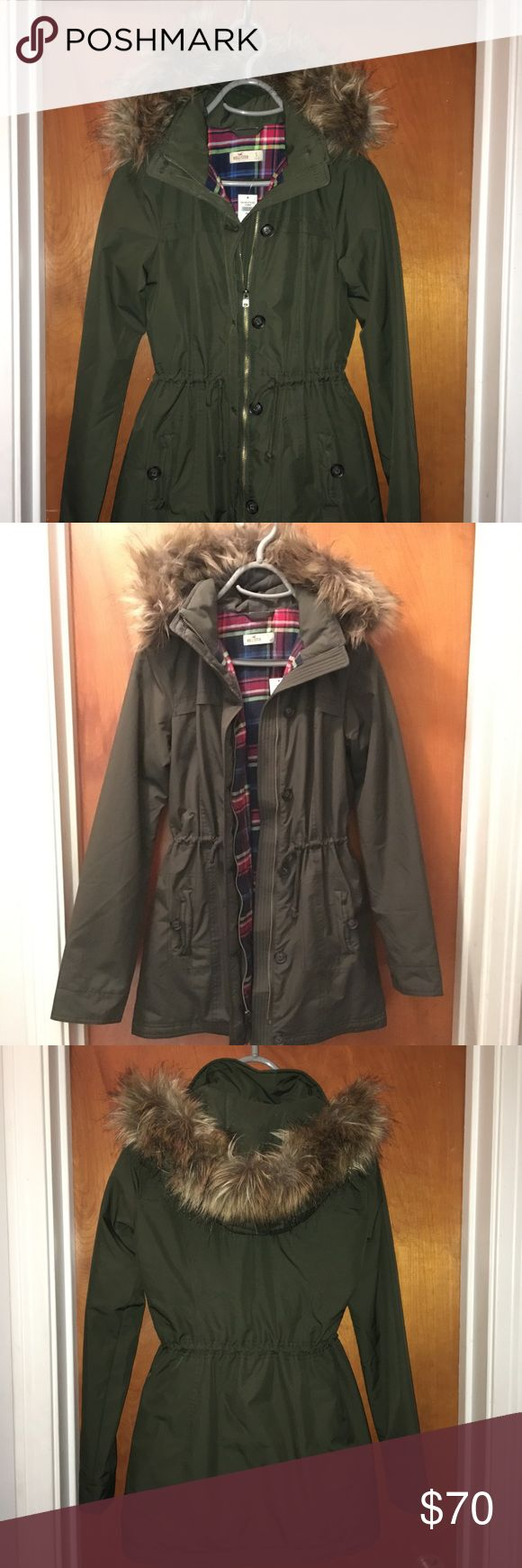 Hollister parka Hollister Parka with hood Lined with Flannel and faux fur is removable. 2 pockets with button closure and one has headphone access. Adjustable waist with ties to tighten or have it relaxed Size small  Color olive with plaid flannel inside   NWT never worn Please feel free to ask any questions! 😊 Hollister Jackets & Coats