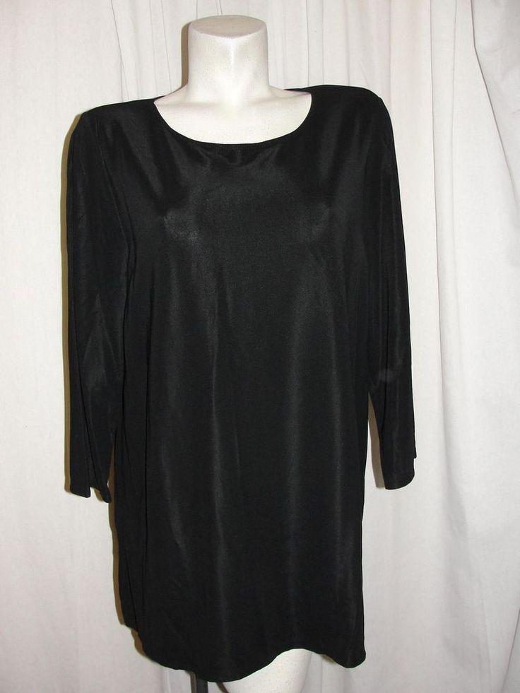 NEW QVC Susan Graver Style Black Nylon Spandex Knit Tunic Top 3/4 Sleeve Size XL #SusanGraverStyle #Tunic #CareerCasual