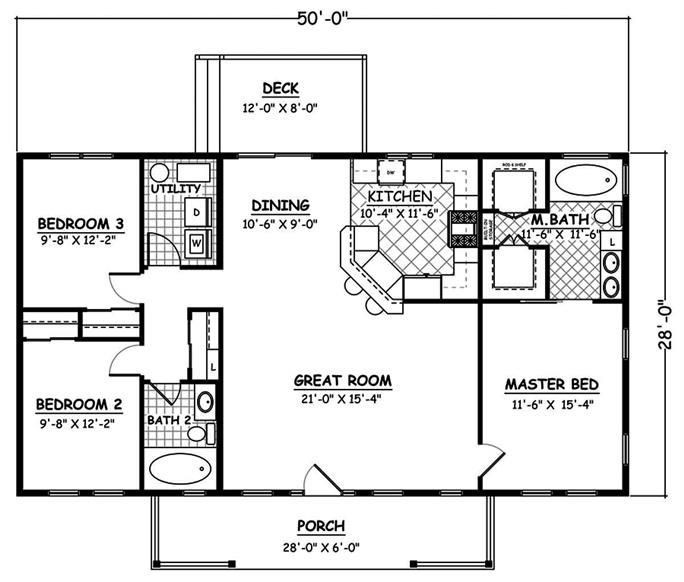 1400 Sq Ft Simple Ranch House Plan Affordable 3 Bed 2 Bath Ranch House Floor Plans House Plans Ranch Style House Plans