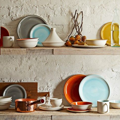 I want these in my kitchen. Love the colors. // Jars Cantine 16-Piece Dinnerware Place Setting   Williams-Sonoma