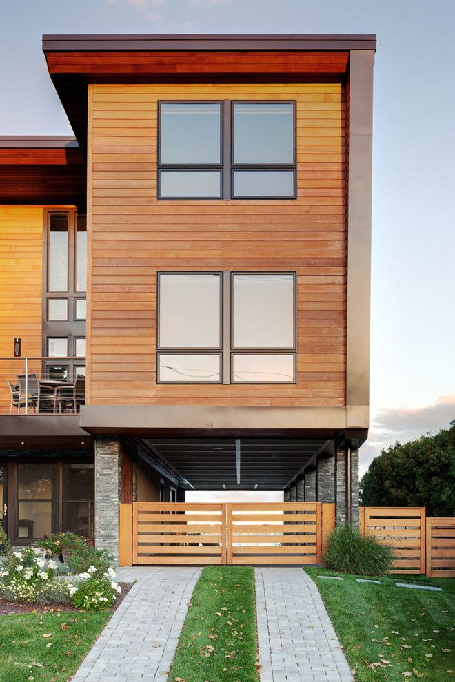 Modern Simple Wood House Fence Grass Windows Contemporary Exterior