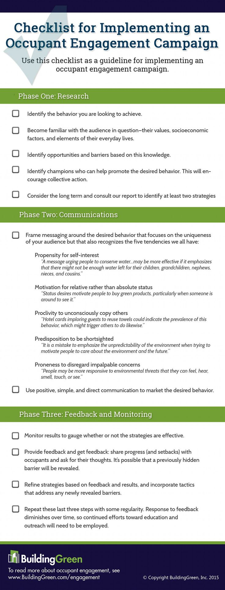 Implementing an Occupant Engagement Campaign? Use this checklist as an easy guideline!