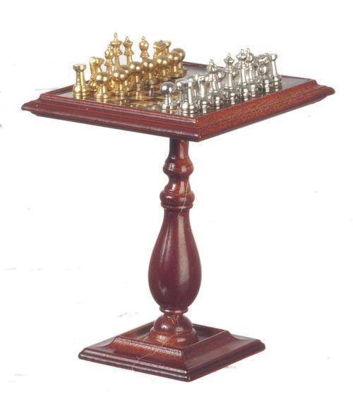 Schachtisch Schach Tisch magnetisch Puppenhaus Puppenstube - g7257