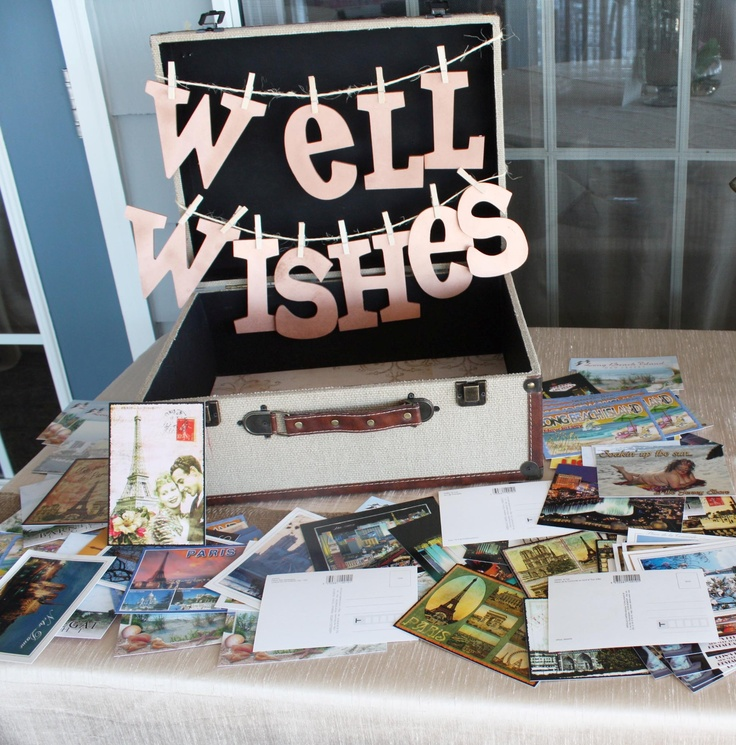 """Well Wishes"" postcard guestbook :: Made by www.kylemichelleweddings.com"