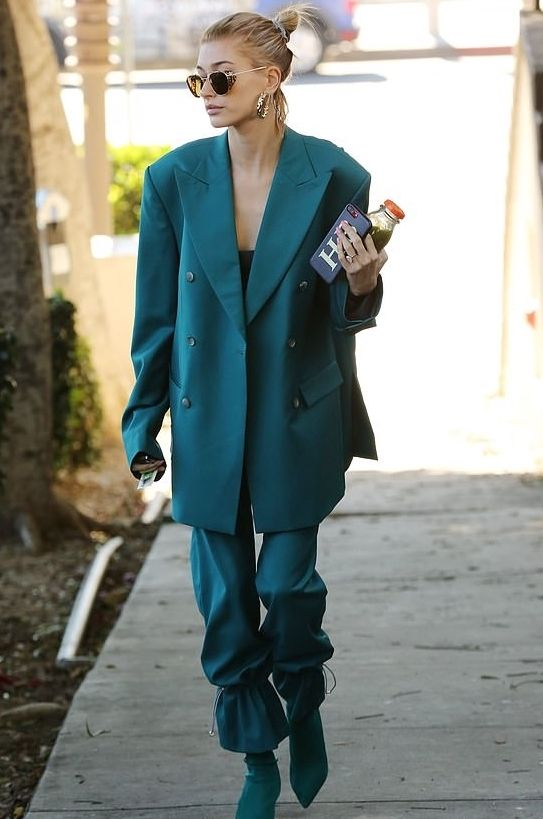 Hailey Baldwin wears a MISBHV Blazer and Trousers