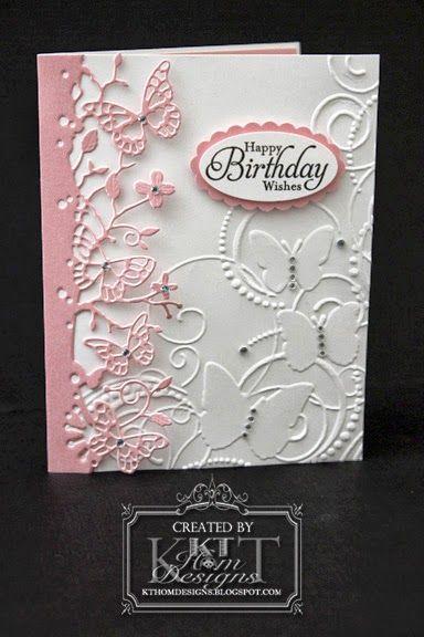 Memory Box Kensington Border plus Darice Butterfly embossing folder * LATEST CARDS* Pinned from KT Hom Designs Blog
