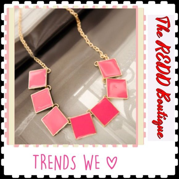 PRETTY 'N PINK PENDANT Gold Tone AND Pretty 'n PINK Pendant Squares NECKLACE!!...MEASURES 16 INCHES LONG...18 INCHES WITH THE 2 INCH EXTENDER..Lobster Claw Clasp!! TRADES PAYPAL‼️ PRICE IS FIRM UNLESS BUNDLED‼️ Boutique Jewelry Necklaces