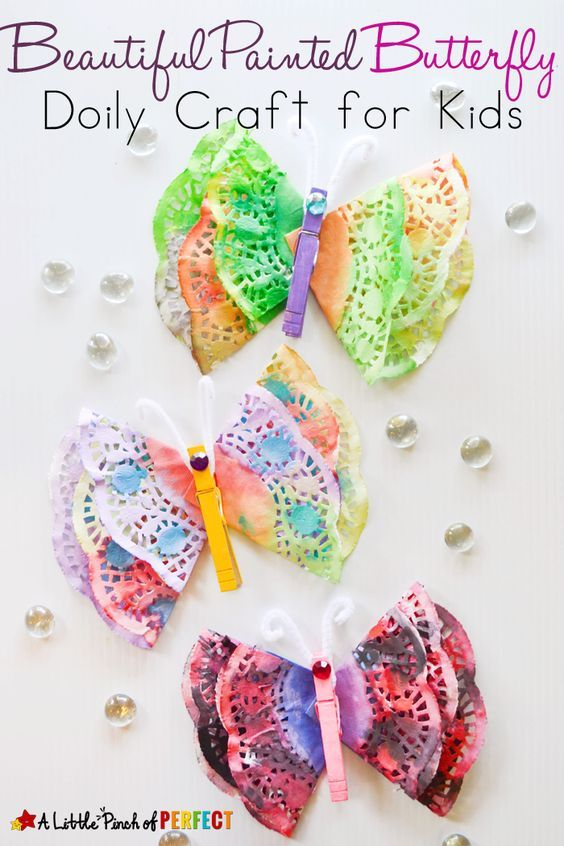 Beautiful Painted Butterfly Doily Craft for Kids: Easy craft for kids to make for spring