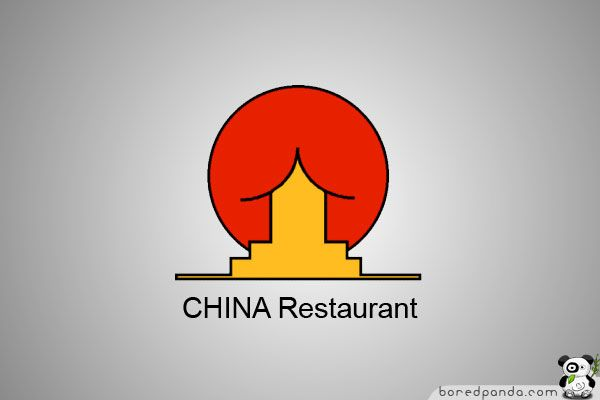 Bad Logo Design Example - CHINA Restaurant  This is a full red sun behind a yellow building with a curved roof...unfortunately, that's not the first thing everyone sees. Lesson learned:Give complete thought to your logo design process.  http://www.boredpanda.com/worst-logo-fails-ever/?image_id=logo-fail-china-restaurant.jpg