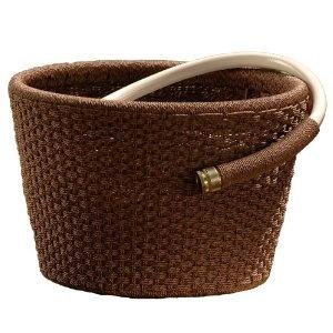 Suncast WHP80 Resin Wicker Garden Hose Pot With 80 Foot Hose Capacity (Hose  Not
