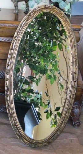 Wall Mirror Goldtone Long Slender Oval 1930s Mirror 19 x 36  | olliesfinethings - Home Decor on ArtFire