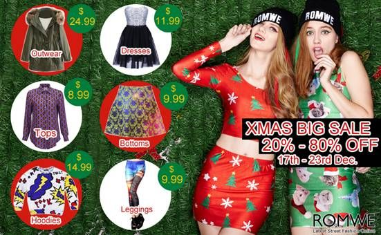 Romwe Xmas big sale! Up to 80% off! Whole week! Biggest discount! Most styles ever! Date: 12/17/2013 -12/23/2013 Go: http://www.romwe.com/XMAS-BIG-SALE-c-379.html?alice987