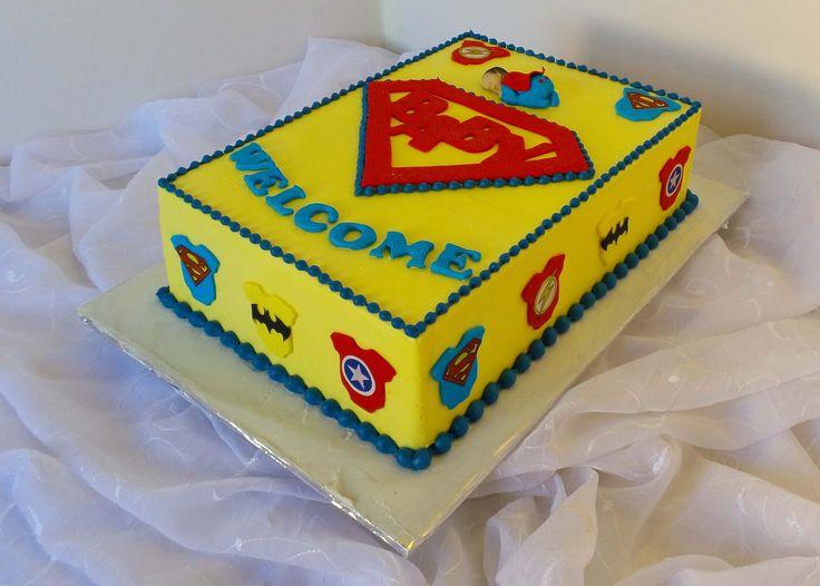 https://flic.kr/p/LdukwW | Super Hero themed baby-shower cake