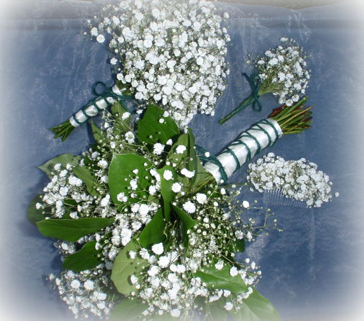 woodland theme wedding bouquet with gypsophila and foliage